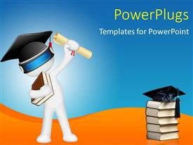 PowerPlugs: PowerPoint template with white 3D man with graduation cap and cap on book pile