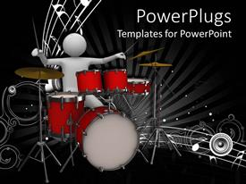 PowerPlugs: PowerPoint template with white 3D man playing drums, white music notes, speaker, musical, musician
