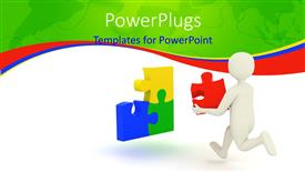 PowerPlugs: PowerPoint template with a white colored character running with a puzzle piece in his hand
