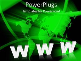 PowerPlugs: PowerPoint template with white 3D word WWW with green earth globe on black background