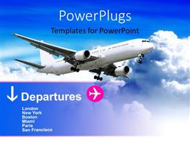 PowerPoint template displaying white airplane in cloudy sky with departure information