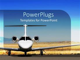 PowerPoint template displaying white airplane parked at airport, blue sky