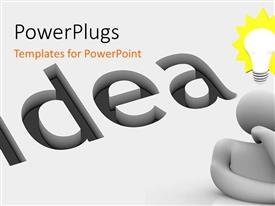PowerPlugs: PowerPoint template with white animated human figure with a lit light bulb on its head and an idea text