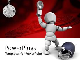 PowerPlugs: PowerPoint template with white animated robot holding a trophy and winning medal