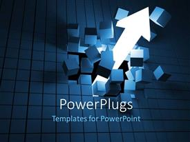 PowerPlugs: PowerPoint template with white arrow breaking wall of blocks, overcoming hurdles