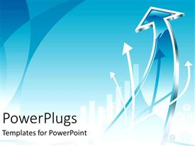 PowerPlugs: PowerPoint template with white arrows pointing up on blue background
