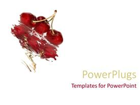PowerPoint template displaying white background with cherries and reflection in water