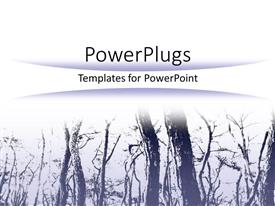 PowerPoint template displaying white background with trees in a winter morning fog