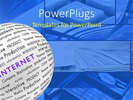 PowerPlugs: PowerPoint template with a globe made of paper with bluish background