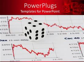 PowerPlugs: PowerPoint template with white and black die on a business graph paper