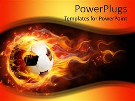 PowerPlugs: PowerPoint template with white and black football on fire on a black and orange background