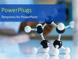 PowerPlugs: PowerPoint template with white and black molecular model with scientist in the background