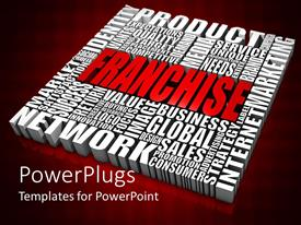 PowerPlugs: PowerPoint template with white block of business words with FRANCHISE at center in red