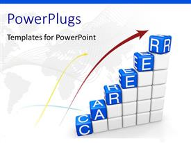 PowerPlugs: PowerPoint template with white blocks arranged in stair steps topped with blue alphabet cubes spell Career