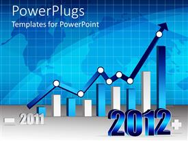 PowerPlugs: PowerPoint template with white and blue bars with a long blue arrow on a blue graph