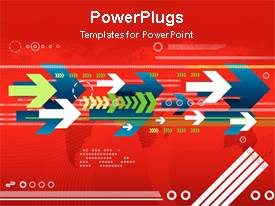 PowerPlugs: PowerPoint template with white blue and green animated arrows on red background