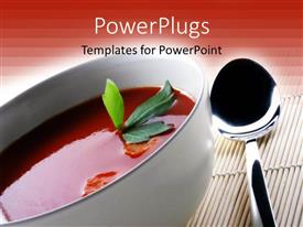 PowerPlugs: PowerPoint template with white bowl with Hot Tomato soup next to spoon on mat