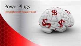 PowerPoint template displaying white brain with red dollar signs on it money on the mind