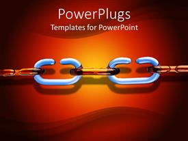 PowerPlugs: PowerPoint template with white and brown chain links on orange red background