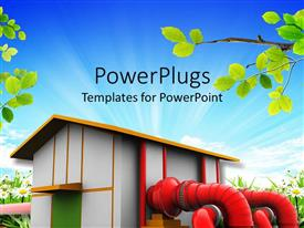 PowerPlugs: PowerPoint template with white building with red pipes, hydroelectric power, green power, hyrdroelectricity