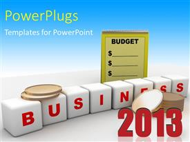 PowerPoint template displaying white business cubes with gold coins and notepad of business budget