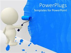 Template with white cartoon man painting wall blue with roller