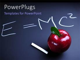 PowerPlugs: PowerPoint template with white chalk and red apple with Einstein relativity equation on blackboard