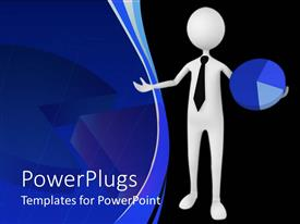 PowerPlugs: PowerPoint template with a white character holding a blue colored pie chart