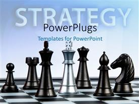 PowerPoint template displaying white chess king piece against multiple black pieces on chess board