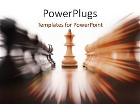 PowerPlugs: PowerPoint template with white chess queen standing between rows of black and white pieces