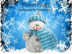 PowerPlugs: PowerPoint template with white Christmas snow man wearing blue scarf and cap