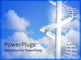 PowerPoint template displaying white circular stair case in the clouds