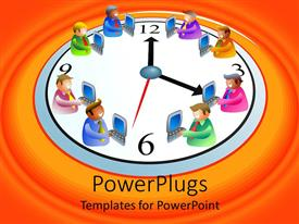 PowerPlugs: PowerPoint template with white clock with animated figures with laptops on an orange background