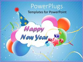 PowerPlugs: PowerPoint template with white cloud reading Happy New Year wearing blue party hat with multicolored stars and balloons against blue background