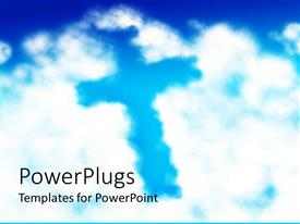 PowerPlugs: PowerPoint template with white clouds in blue sky forming the shape of a cross