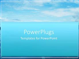 PowerPlugs: PowerPoint template with white clouds on bright blue sky on top of bright blue background