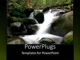 PowerPoint template displaying white cloudy natural water fall down a rocky mountain