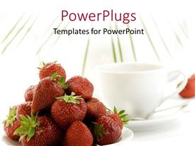 PowerPlugs: PowerPoint template with white coffee cup and saucer with dish of strawberry