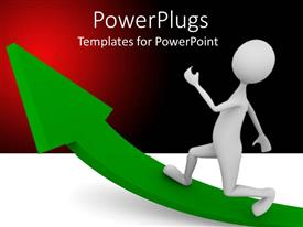 PowerPlugs: PowerPoint template with white colored 3D character running on a large green arrow