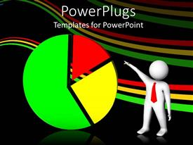 PowerPlugs: PowerPoint template with a white colored 3D human character pointing to a pie chart