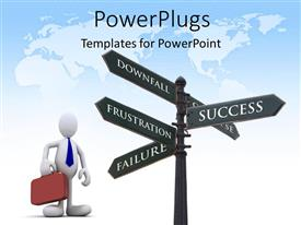 PowerPlugs: PowerPoint template with a white colored 3D human character holding a briefcase