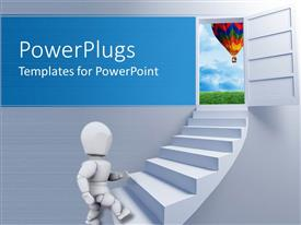 PowerPlugs: PowerPoint template with a white colored 3D human character climbing a white stair case