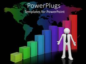 PowerPoint template displaying a white colored 3D human character standing in front of multi colored bars