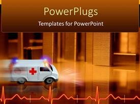 PowerPlugs: PowerPoint template with white colored ambulance driving in speed toward an hospital