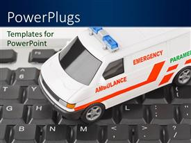 PowerPlugs: PowerPoint template with white colored emergency ambulance on computer keyboard