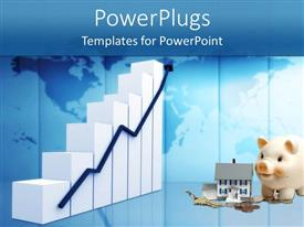 PowerPlugs: PowerPoint template with white colored graph with a house, piggy bank, key and coins