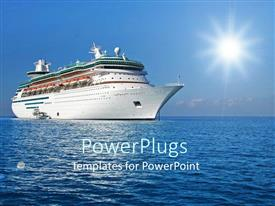 PowerPoint template displaying white colored modern cruise ship sailing in blue ocean
