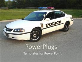 PowerPlugs: PowerPoint template with white colored police car with lights on a road