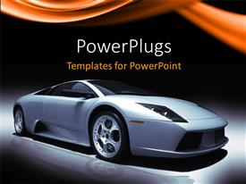 PowerPoint template displaying an off white colored sports car on a reflective surface