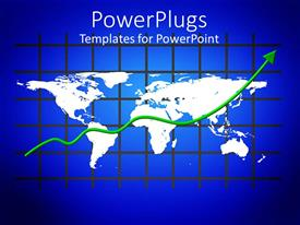 PowerPlugs: PowerPoint template with white colored world map on a blue graph background
